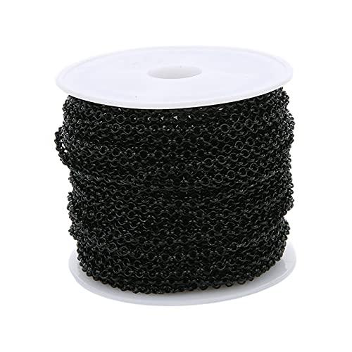 harayaa Bulto de la alambrada del Cable Chapado en Color de 10m para la fabricación de la joyería, 3m m - Negro