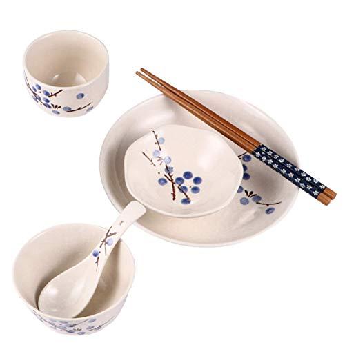 GaoF Juego de vajilla de gres de cerámica Japonesa, Platos de cerámica, Plato, Cuenco, Cuchara, Palillos, Taza, Cian