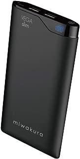 モバイルバッテリー 6000mAh miwakura 美和蔵 VEGAslim ベガスリム 2A出力 数字で分かる残量表示 Type-Cケーブル付 軽量薄型 ラバーボディ ブラック MPB-6000VK
