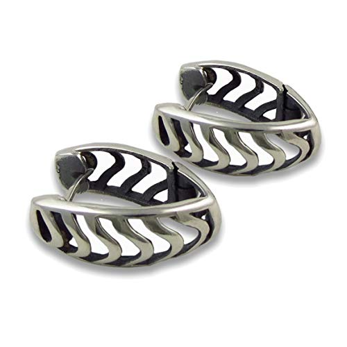 Chevron Huggie 925 Sterling Silver Earrings Gift Boxed