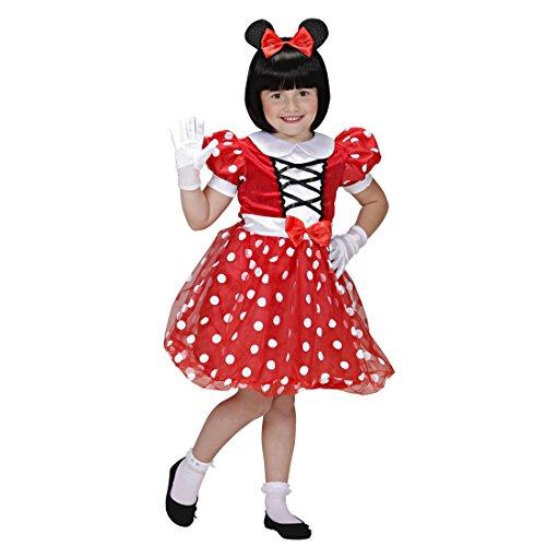 Amakando Disfraz infantil de ratn, 104 cm, 2-3 aos, vestido de Minnie Mouse, disfraz de carnaval, disfraz de animales de Disney, con lunares