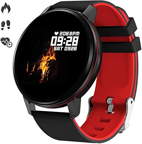 Smart Watch, Bluetooth Fitness Activity Tracker met hartslagmeter, draagbare bloeddrukmeter voor dames, heren, kinderen, waterdichte stappenteller, compatibel met Andriod iOS,Black