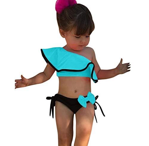 Jimmackey Costumi Bagno Bambina Ruffles Bikini Set Costume da Bagno Due Pezzi Neonata Swimsuit Una Spalla Costumi Mare Bimba Beachwear Outfits