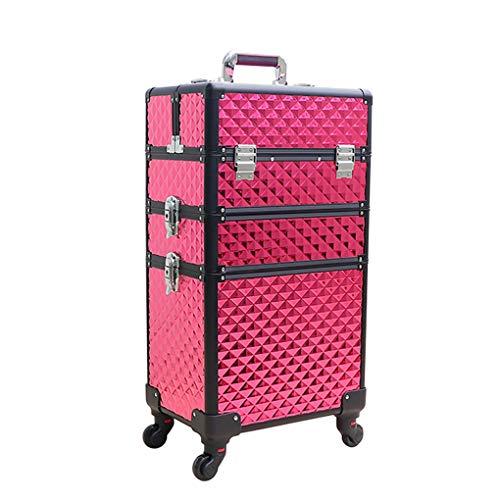AOHMG 3 en 1 Maquillage Valise Trolley, Portable en Aluminium Maquillage Valise De CosméTiques, Mallette Maquillage Trolley Professionnel avec verrouillables Touches,Red
