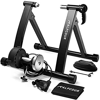 Alpcour Bike Trainer Stand – Portable Stainless Steel Indoor Trainer w/ Magnetic Flywheel Noise Reduction 6 Resistance Settings Quick-Release & Bag – Stationary Exercise for Road & Mountain Bikes