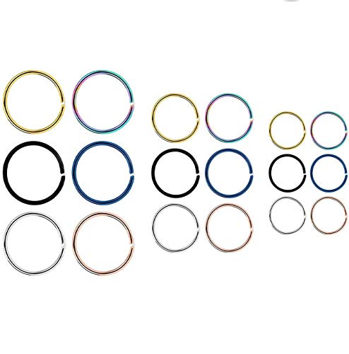 Liuxn 18 Pieces 20 Gauge inless Steel Nose Ring Earring Hoop for Body Piercing, 6 Colors, 3 Sizes