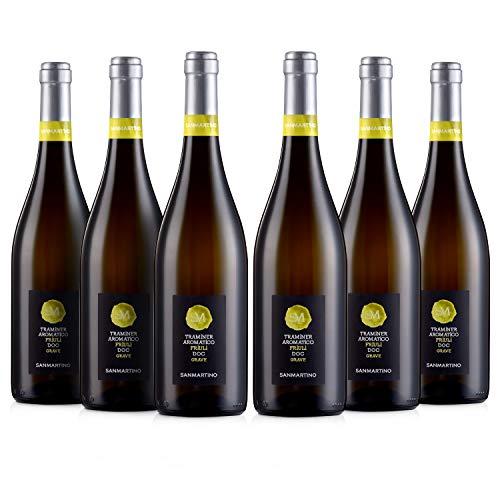 SAN MARTINO VINI Traminer Aromatico DOC Friuli Grave 2019, 6 Bottiglie di Vino Bianco Fermo x 750 ml, Gusto Fruttato e Speziato, Ottimo Abbinamento con Formaggi Saporiti, Pesce e Crostacei, Vol 12,5%