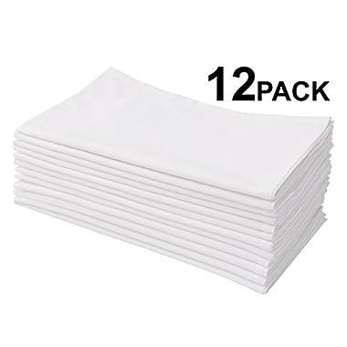 Cotton Craft 12 Pack Flour Sack Kitchen Towel Napkins - 100% Pure Ringspun Cotton - White - 28x28 Heavy Weight 900 Gram / 32 Ounce Woven Low Lint Construction - Multi Purpose & Versatile