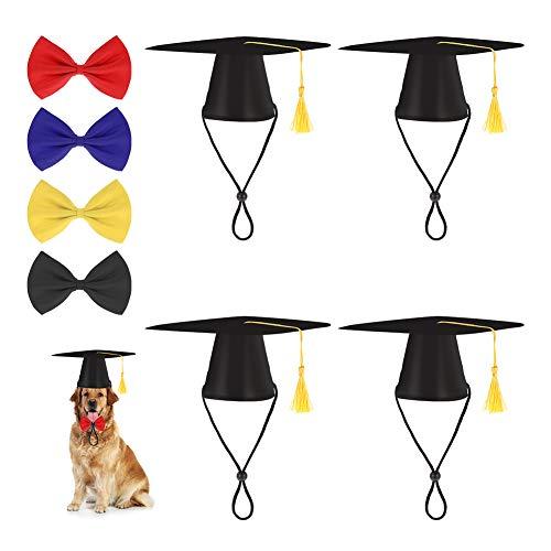 adakel huisdier afstuderen caps 4 stuks huisdier honden katten afstuderen caps hoed met 4 stuks strik kraag huisdier Grad Cap voor honden katten kostuum accessoire