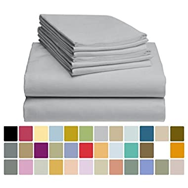 6 PC LuxClub Sheet Set Bamboo Sheets Deep Pockets 18  Eco Friendly Wrinkle Free Sheets Hypoallergenic Anti-Bacteria Machine Washable Hotel Bedding Silky Soft - Light Grey Queen