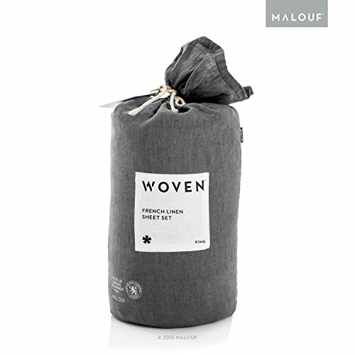 MALOUF Woven Soft, Light French Linen Sheet Set with Vintage Wash-King-Charcoal