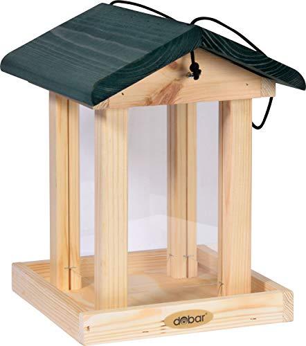 dobar 90040FSCe Futterspender Vogelfutterhaus aus Holz für Wildvögel, 21 x 21 x 28 cm, grün - 2