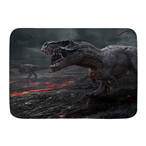 QIUTIANXIU Badezimmerteppich rutschfest - Weiche Badematte,Dinosaurier Jurassic World Wildlife Red Magma Fliegende Drachen,Badvorleger,Badeteppich,75 * 45cm
