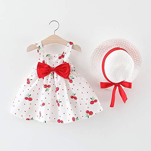 YWLINK Verano 2PC Sin Mangas Toddler Baby Kids Girls Sin Mangas Cherry Dot Princess Dresses Bow Hat Outfits, Elegante Y Dulce Regalo De CumpleañOs Fiesta De Vacaciones