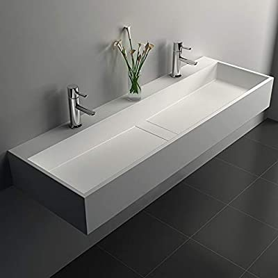 Weibath 47 Inch Wall-Mount Double Sink Stone Resin Trough Bathroom Sink with 2 Faucet Holes (Matte White)