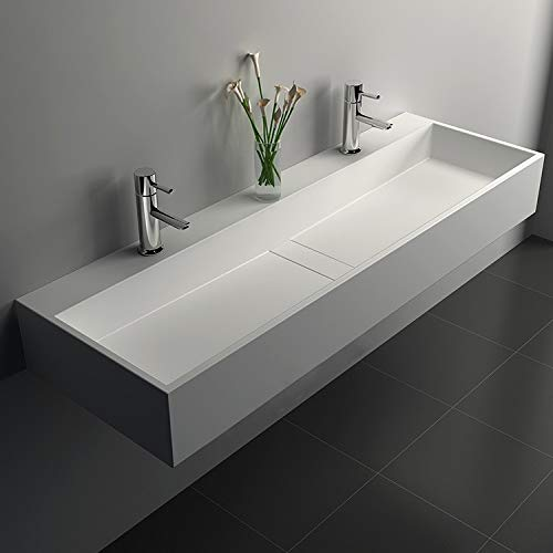 Weibath 47 Inch Wall Mounted Double Sink Stone Resin Trough Bathroom Sink with 2 Faucet Holes (Matte White)