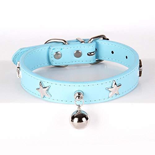 Dieren voor huisdieren, personaliseerbaar voor honden en pentagrammen van leer, voor honden en middelgrote honden, grootte van de armband voor Chihuahua rood blauw bruin zwart rood, M, Blauw