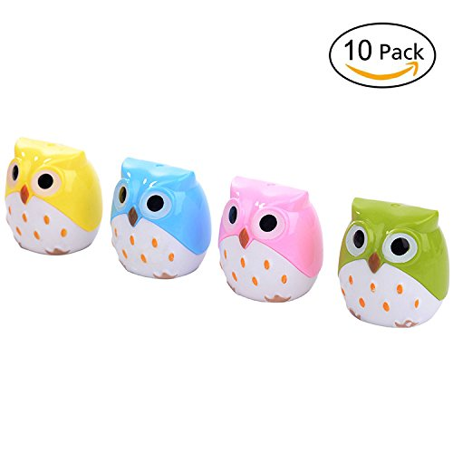 Funny Owl Dual Hole Pencil Sharpener, Pack of 10