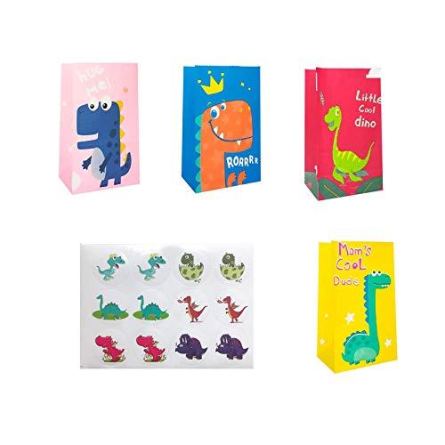 Darimayy, 24 sacchetti regalo in carta con dinosauro, con adesivi, per feste di compleanno per...