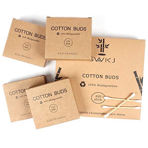 Bastoncillos de algodón en bambú, 4 paquetes de conjunto (400 piezas), Auriculares ecológicos de algodón, Bastoncillos de algodón a doble cabeza con bastones reciclables y biodegradables