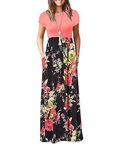 Zattcas Long Dresses for Women Summer Casual Maxi Dress with Pockets,Light Orange Black,Large