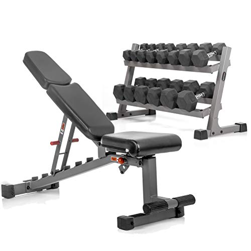 XMark's Two Tier Heavy Duty Steel Dumbbell Rack, 380 lbs. of XMark's Superior Rubber Coated Hex Dumbbells, and Adjustable Weight Bench