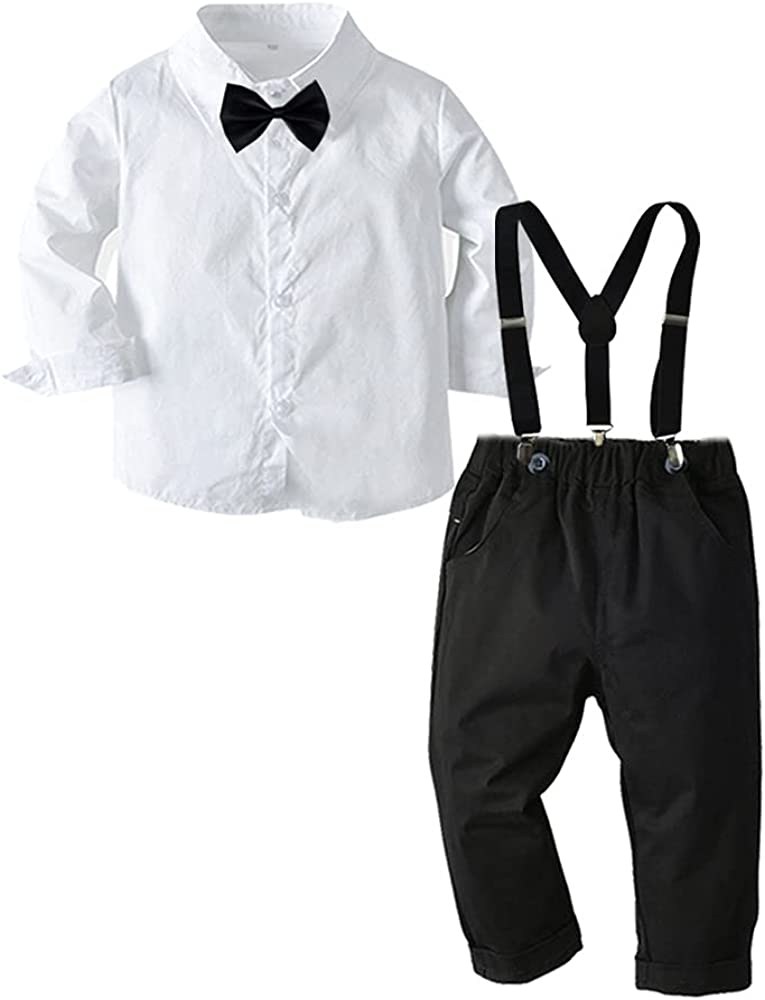 Toddler Baby Boy Dress Clothes Kids Party Suits Outfit Long Sleeve Shirt+Suspenders Pants+Bow Tie 4Pcs Set 2-7Years