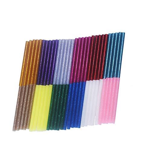 12 Color Hot Glue Gun Sticks 7 mm by 10 cm Mini Glue Sticks Hot Melt Glue Sticks Mini Glitter for DIY Art Craft, 60 Pack