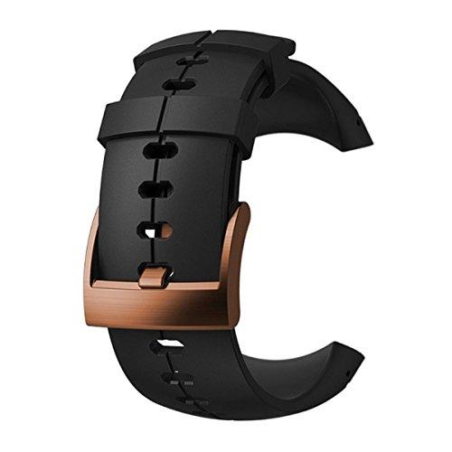 Suunto, Original Ersatz-Uhrenarmband für alle Suunto Sparten Ultra Uhren, Silikon, Länge: 24,5 cm, Stegbreite: 25 mm, Schwarz/Kupfer, Inkl. Stifte zur Montage, SS022969000