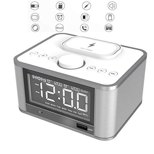 MingXinJia Relojes de Cabecera para el Hogar Radio Reloj, Despertador de Cabecera Que No Hace Tictac con Cargador Usb, Altavoz Bluetooth, Pantalla Led Regulable de Carga Inalámbrica, Alimentación de
