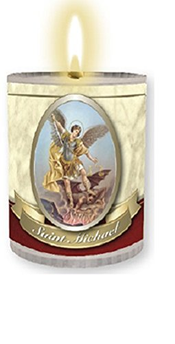 4 x St. Michael Candles Burns for 24 Hours Picture on The Front Prayer on The Back 2.5 inch Tall