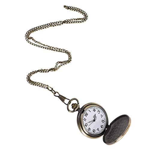 YZLSM Frauen Taschen-Analog-Quarz-Taschen-Uhr-lila Blumen-Vier-Geist Heads-Muster-Halskette hängende Taschen-Uhr-Bronzen-Weinlese-Ketten Halskette Taschenuhr für Halloween-Party