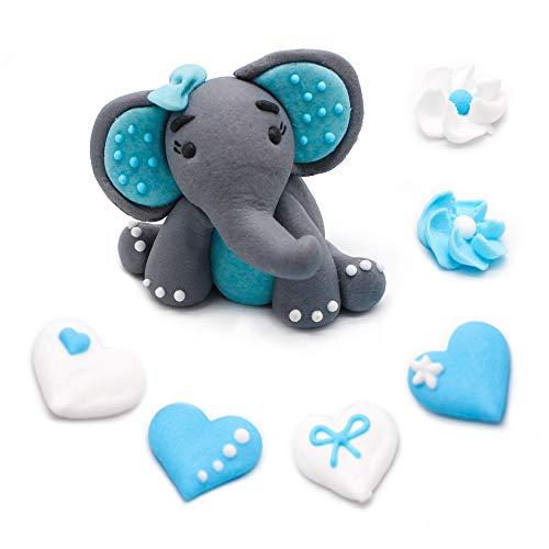 Bombasei, 7 teiliges Marzipan Kinder Geburtstag Elefanten Set hellblau 37 g