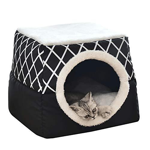 YunNasi Katzenhöhle Katzen Haus Katzenbett Haustier Pet Nest Schlafsack 2 in 1 Faltbar Kuschelhöhle Für Komfortabel 38x38x34 cm (XL, Schwarz)