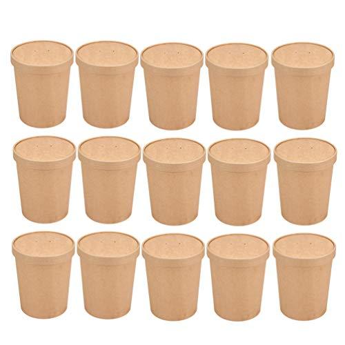 STOBOK Braune Einweg-Suppen-Eiscremebehälter zum Mitnehmen Papierbehälter Runde Feinkostbecher Deckel Packung mit 50, 12 Unzen (50 Pappbecher + 50 Pappdeckel)
