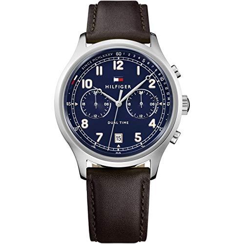 Tommy Hilfiger Herren Datum klassisch Quarz Uhr mit Leder Armband 1791385