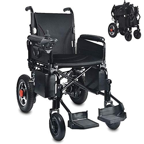 H&1 Silla de Ruedas eléctrica Scooter eléctrico portátil Plegable eléctrico Manual de Doble Uso para discapacitados, Ligero, Negro