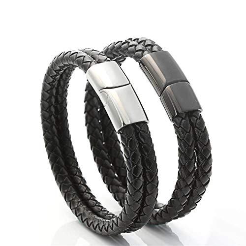 Epinki Pulsera para Hombre Acero Inoxidable Dobles Trenzado Cuerda de Cuero Pulsera de Cuero 18.5CM Negro