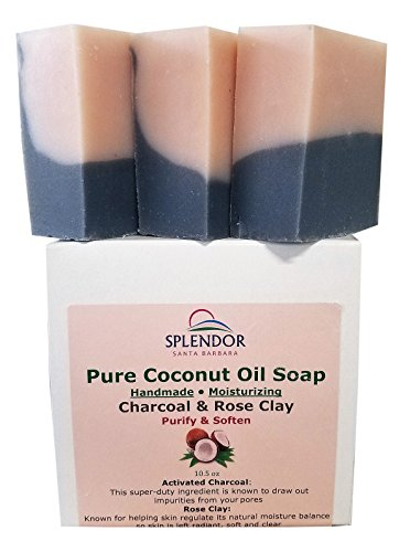 Splendor Activated Charcoal & Rose Clay Spa Face & Body Bar Soap - Pure Coconut Oil Soap. Handmade,...