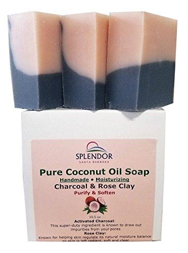 Splendor Activated Charcoal & Rose Clay Spa Face & Body Bar Soap - Pure Coconut Oil Soap. Handmade, Vegan, Natural, Moisturizing
