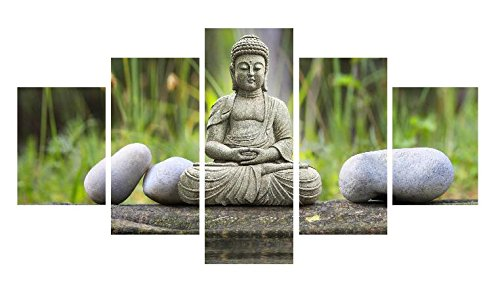 5 Pieces Buddha Paintings on Canvas Wall Art Print for Home Decoration No Frame