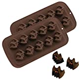 2Pack Halloween Bat Chocolate Candy Molds, Bat Silicone Fat Bomb Gummy Mini Soap Crayon Melt Mould Ice Cube Trays Halloween Party Favor Decoration Supplies