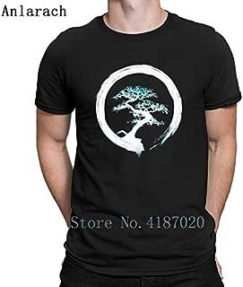Bonsai Tree Enso Circle Buddhist Zen Calligraphy Tshirt Spring Autumn Tshirt for Men O Neck Creative Letters:Black, M