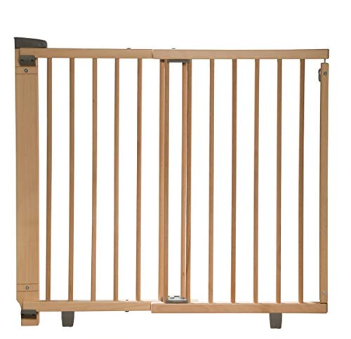 Geuther - Treppenschutzgitter ausziehbar 2732+, für Kinder/Hunde, Türschutzgitter zum bohren, Holz, 86 - 133 cm, TÜV geprüft