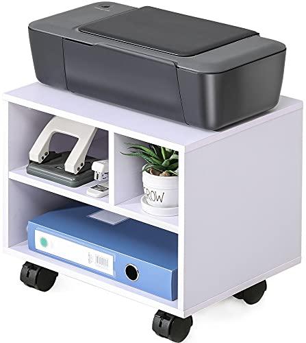 FITUEYES Soporte para Impresora Madera Blanco 3 Compartimientos con Ruedas Carrito Organizador para Oficina Casa 40x30x35cm PS304005WW