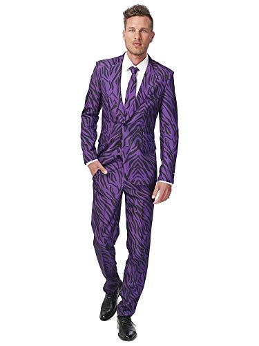Suitmeister Halloween Suit for Men in Stylish & Creepy Prints – Full Set: Includes Jacket, Pants And Tie Pantaloni Eleganti da Lavoro, Pimp Tiger, XXL Uomo