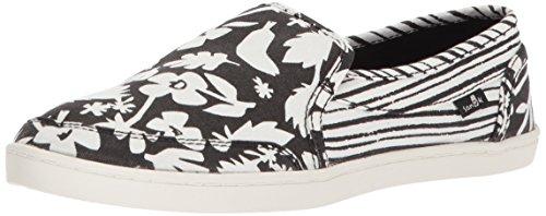 Sanuk Women's Pair O Dice Prints Loafer Flat, Black/White, 07 M US