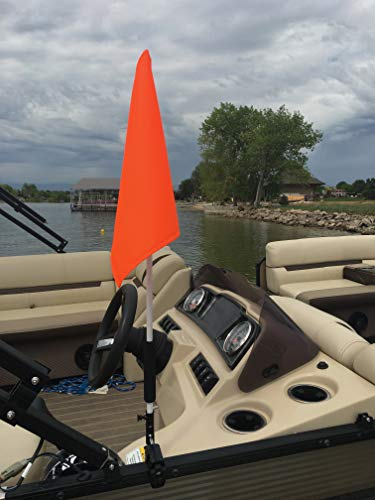 Pontoon Boat Flag Holder. Orange Safety Flag Included. Tired of Holding The Skier Down Flag? Just clamp The Flag Buddy to Your Boat and Rotate it up When Required. Rubbber Clamping Pads.