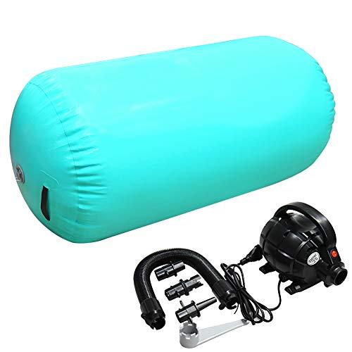 Home U Air Roll Aufblasbare Luft Rollen Yoga Gymnastik Zylinder Gym Air Barrel mit Pumpe (100x60cm, Grün)