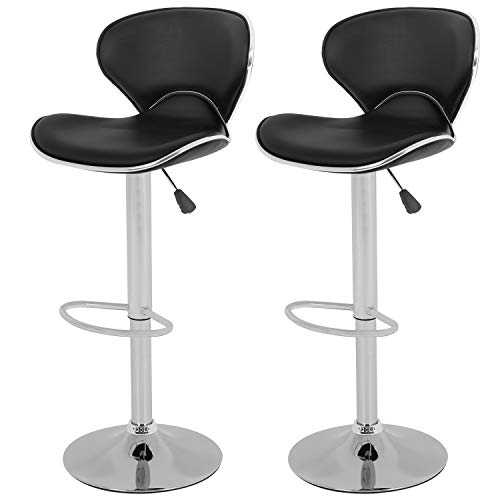 OffiClever Modern Bar Stool Set of 2 Barstools Heigh Adjustable Swivel Bar Stool Counter Height PU Leather Home Kitchen Stools Hydraulic Dining Room Chair Bar Chairs, Black